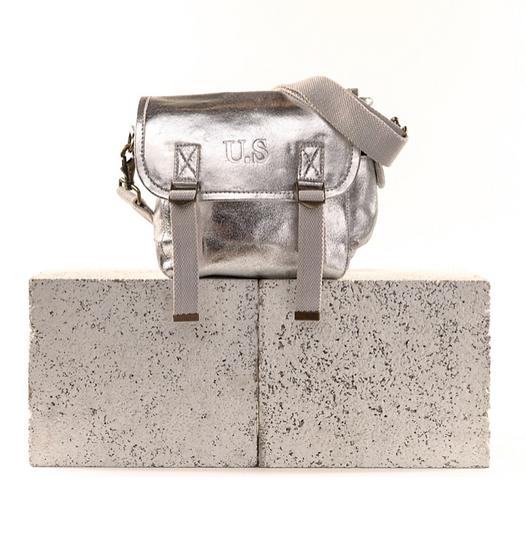 Sac US cuir métallisé argent petit modèle