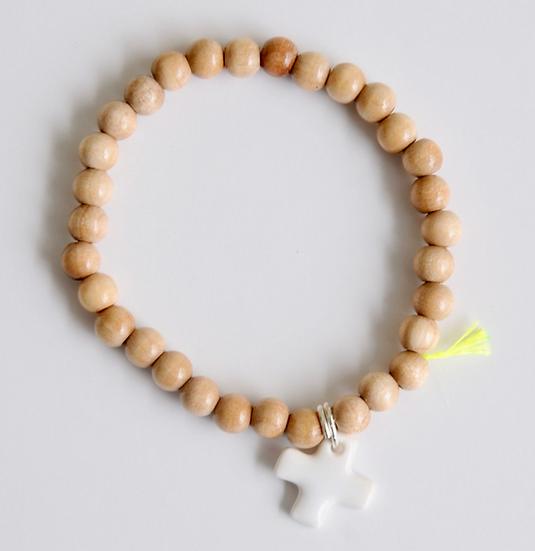 Bracelet wood croix blanche