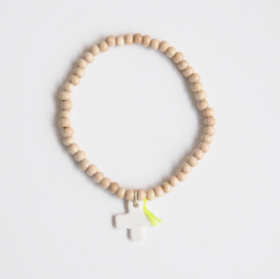 Bracelet wood 4 mm naturel Croix blanche