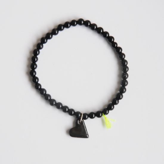 Bracelet Divine 4mm coeur noir