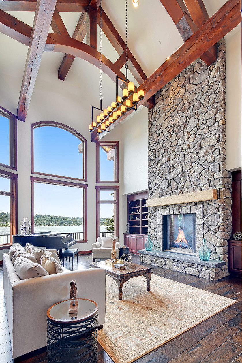 These ceilings make high ceilings look low in this superb waterfront estate.