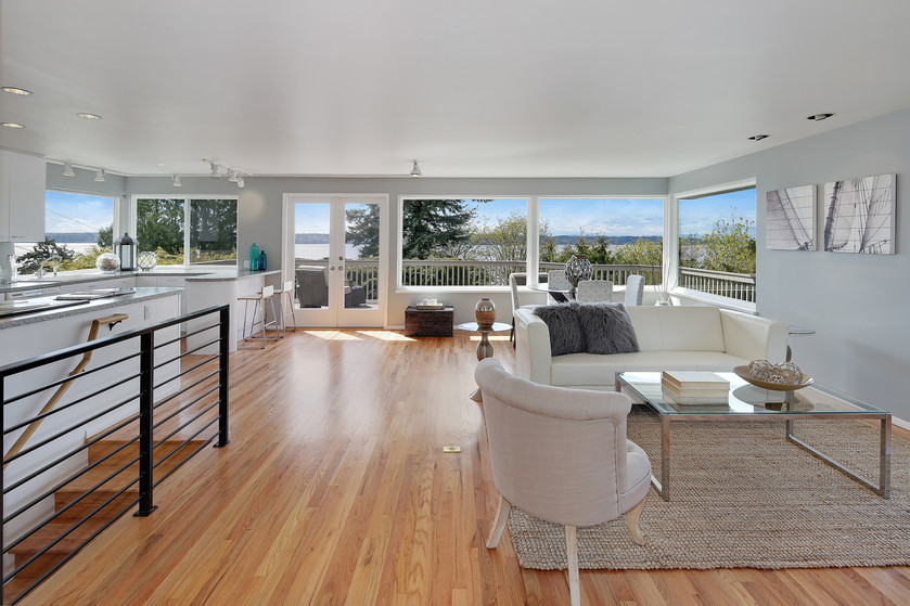 Bright open concept in this Water View Three Tree Point home.
