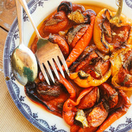 Roasted peppers with anchovy and tomato