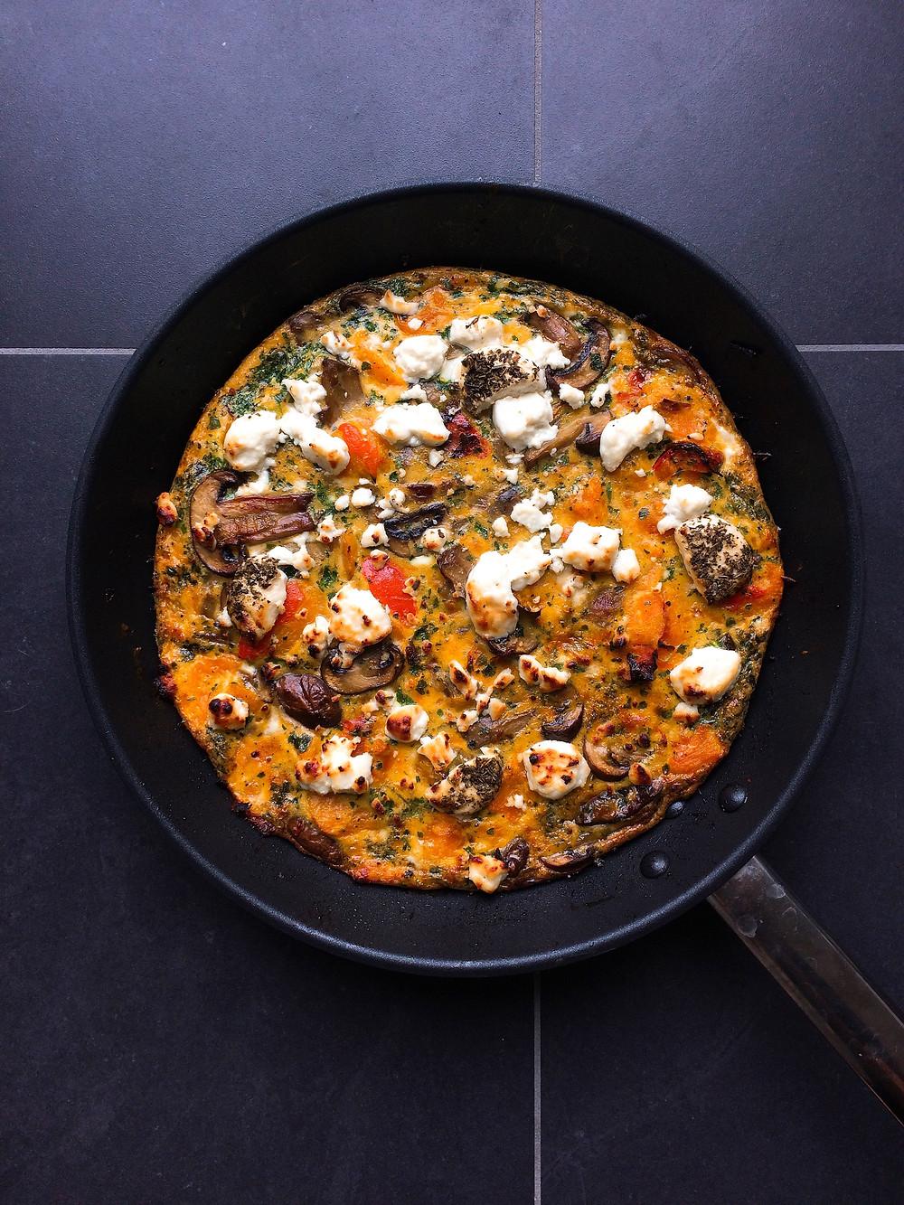 Squash, mushroom and goats cheese frittata