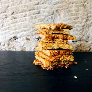 carrot, sesame, almond and oat crackers