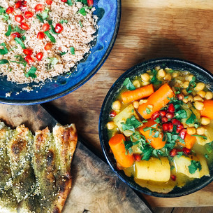 Vegetable tagine with bejewelled spelt couscous