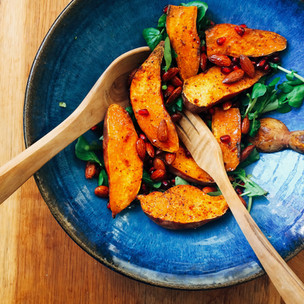 Roasted sweet potato, watercress, maple spiced almonds and pomegranate salad