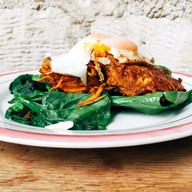 Sweet potato rosti with spinach and fried egg