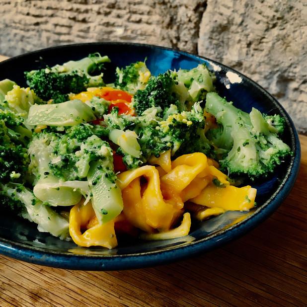 Fresh pasta with roasted squash, broccoli and gorgonzola