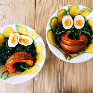 Pumpkin, kale, freekeh and egg salad