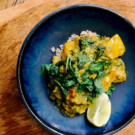 Mild ginger and coconut curry with squash, spinach and autumnal vegetables
