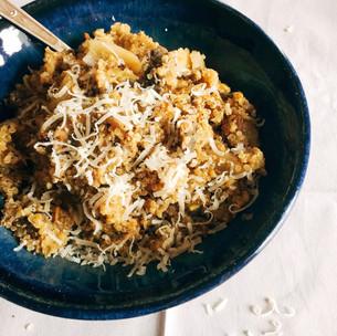 Dried porcini quinoa 'risotto'
