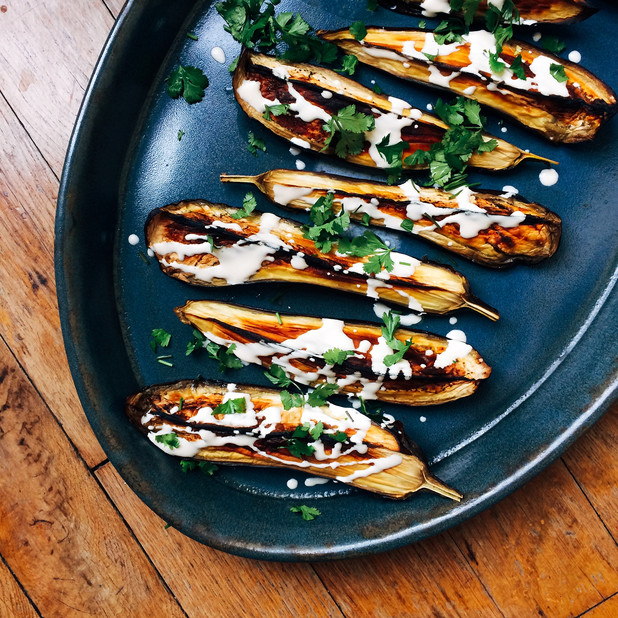 Roasted aubergines with tahini sauce