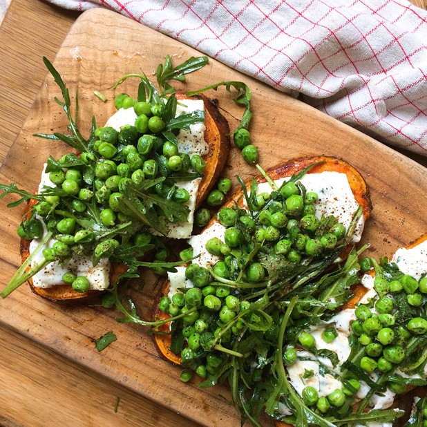 Sweet potato sliders with sumac yogurt, peas and rocket