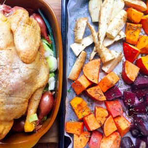 Perfect roast chicken with green tahini sauce