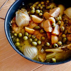 Chicken, fennel and olive tagine with cauliflower rice