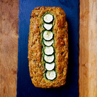 Courgette, date and pistachio savoury cake