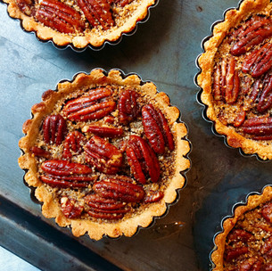 Refined sugar free maple pecan pies with an almond crust