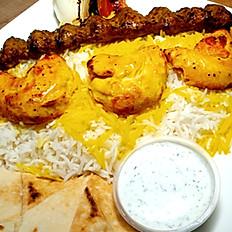 #12 - Chicken & Beef Kabob Plate