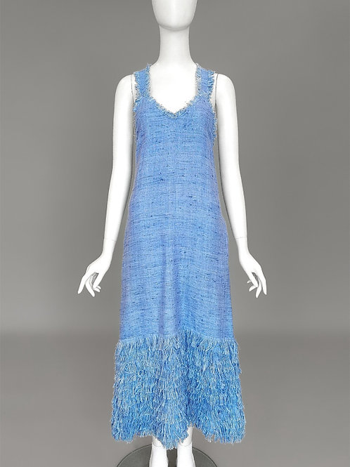 Платье-сарафан с бахромой по подолу