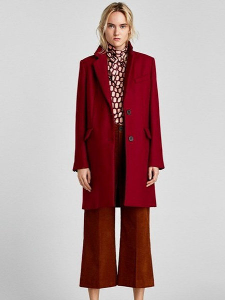 Бордовое пальто Zara Woman