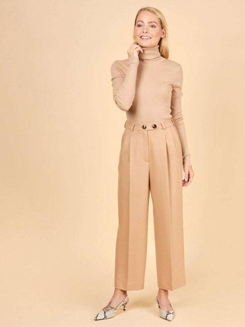 12STOREEZ брюки с защипами из шерсти (песочный)