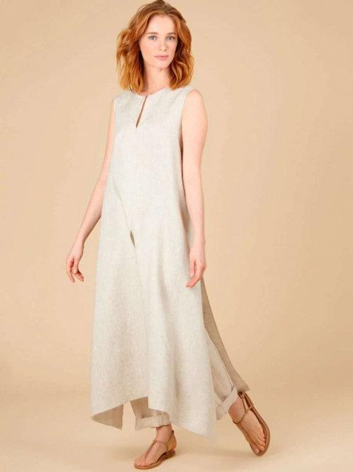 Жилет-платье изо льна (бежевый)