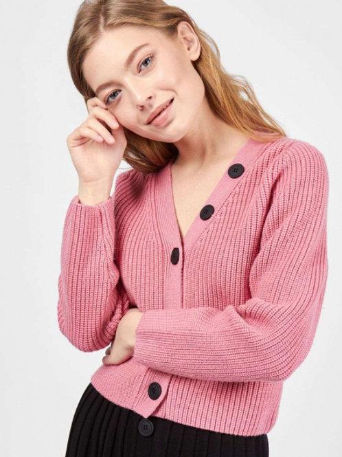 12STOREEZ комплект кардиган и плиссированная юбка (Розовый-Черный)