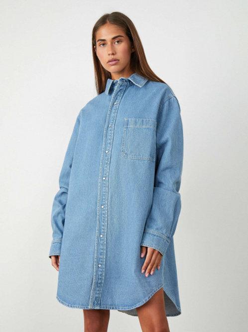 12STOREEZ Платье-рубашка из денима (Голубой)