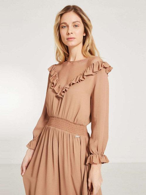 Akhmadulina Dreams мини платье с вырезом с сеткой (светло-коричневый)