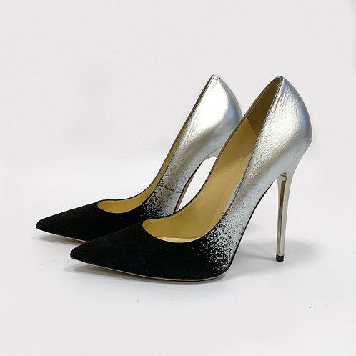 Серебристо черные туфли шпильки Jimmy Choo