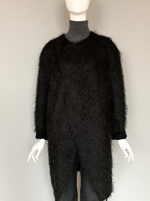 Пальто кокон чёрное ворсовое