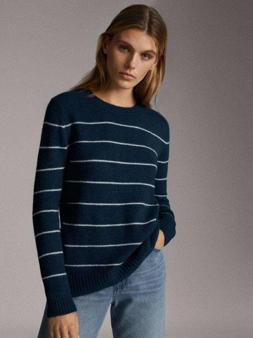 Massimo Dutti свитер в полоску (синий)
