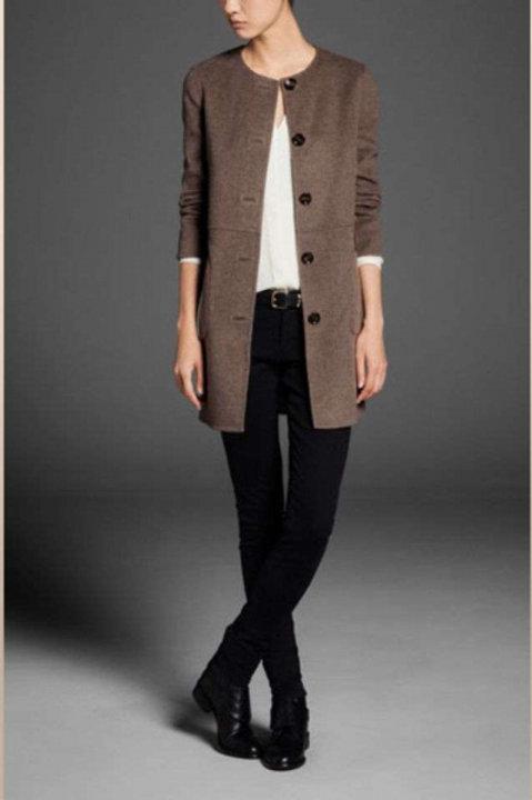Massimo Dutti пальто без воротника (коричневое)