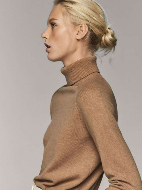 Massimo Dutti свитер-водолазка из кашемира (коричневый)