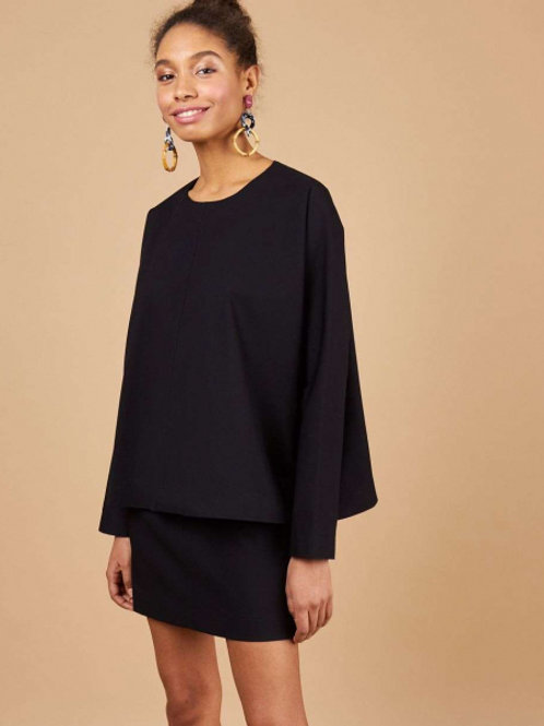 Комплект; блузка c юбкой (темно-синий)