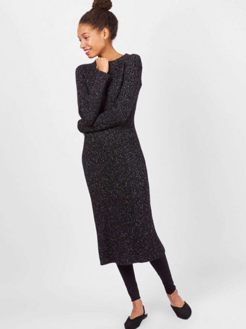 Платье с круглой горловиной из кашемира и шерсти (черный)