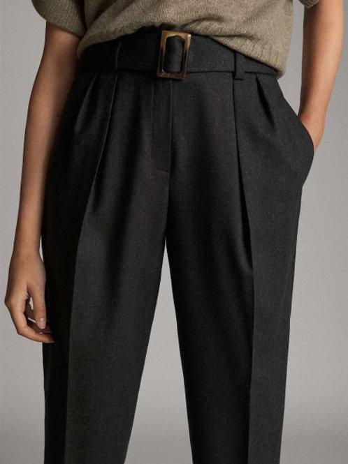 Massimo Dutti брюки с защипами из шерсти (темно-серый)
