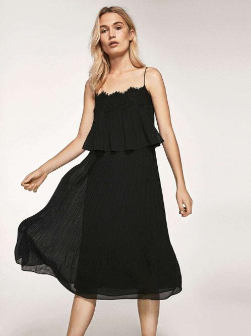 Massimo Dutti платье на тонких бретелях (черный)