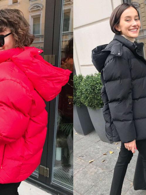 Куртка короткая пуховик без капюшона (черный)