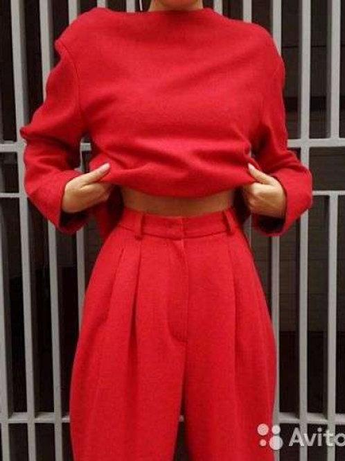 12STOREEZ комплект; топ и брюки из шерсти с подкладом (красный)