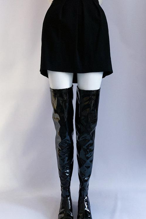 Лаковые кожаные сапоги чулки с молнией