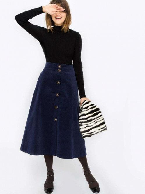 12STOREEZ Вельветовая юбка на пуговицах с подкладок (синий)
