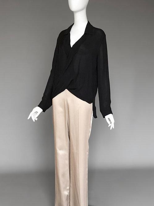 Блузка черная шелковая