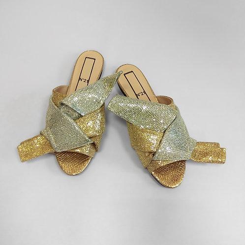 НОВЫЕ Текстильные сабо серебро-золото