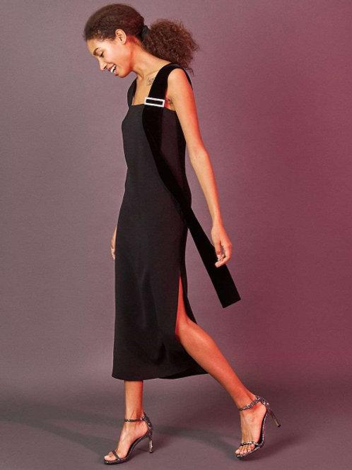 12STOREEZ платье с пряжкой из камней (черный)