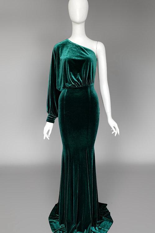 Изумрудное бархатное платье на одно плечо