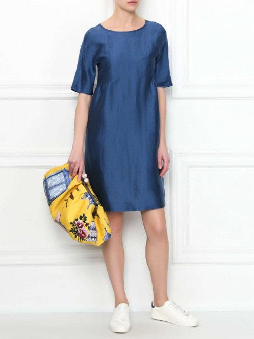 Weekend Max Mara Платье из льна и шелка с короткими рукавами (голубой)