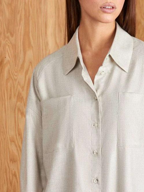 Рубашка с карманами (серо-бежевый)
