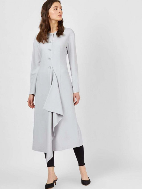 12STOREEZ платье миди на пуговицах и неровным низом (светло-серый)